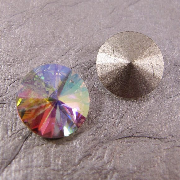 14mm Pointed Back Rhinestone Round Glass - choose color