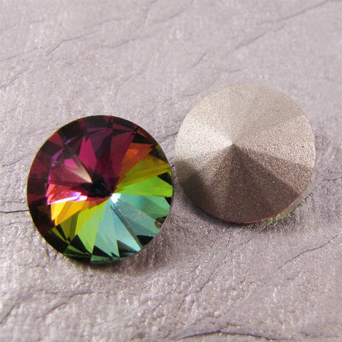 Pointed Back Rhinestone Round - 12mm Rivoli - Choose color