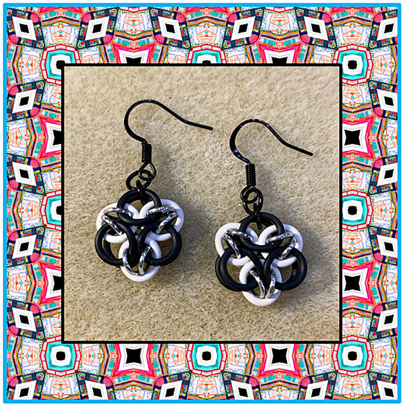 Acute Mandala Micro Earrings - Black, White & Silver