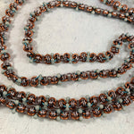 Barrel of Peanuts Beaded Necklace - Copper with Green Blue