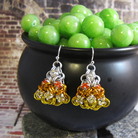 Japanese Puffy Candy Corn Rhinestone Earrings Kit