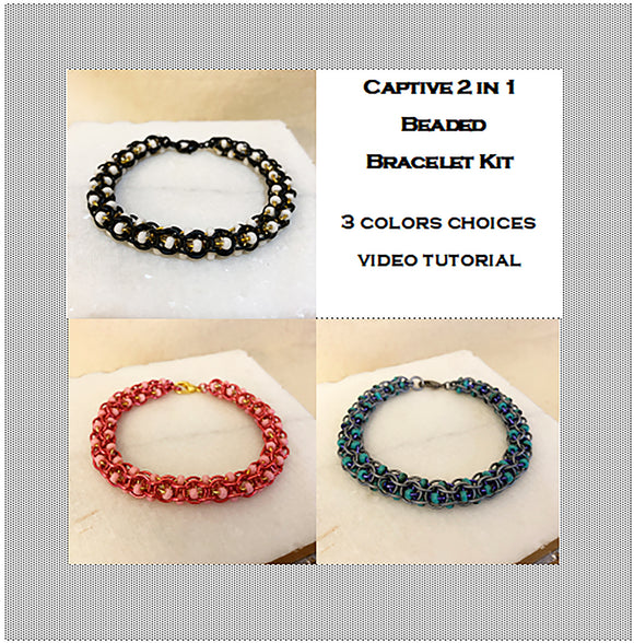 Captive 2 in 1 Beaded Chain Bracelet Kit & Video Class