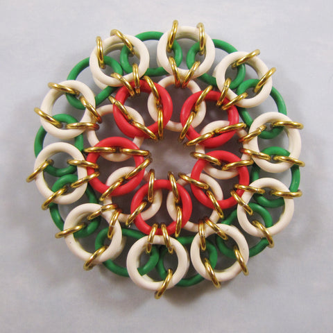 Ornament Celtic Mandala Kit - Red, White, Green & Gold