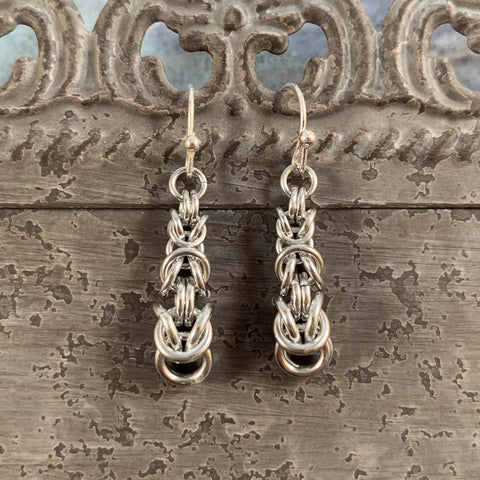 Byzantine Descending Earrings - Silver