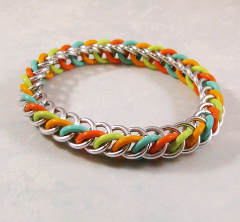 Half Persian Bracelet Kit - Aqua, Coral, Kiwi & Bright Orange