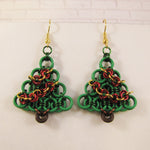 Helm Holiday Tree Earrings Kit - Green with Gold & Red Swags