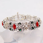 Japanese Marchioness of Diamonds Rhinestone Bracelet Kit - Silver, Crystal, Ruby & Emerald