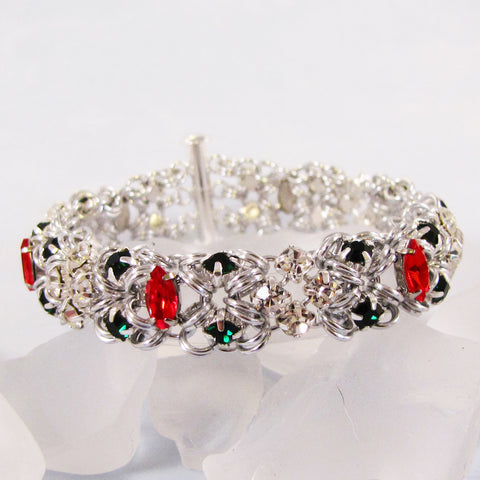 Bracelet Rhinestone Marchioness of Diamonds - Silver, Crystal, Ruby & Emerald