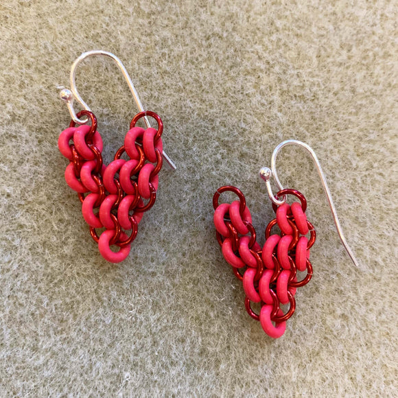 European 4 in 1 Mini Heart Earrings - Red