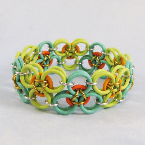 Oriental Scale Bracelet Kit - Aqua, Kiwi, Coral & Bright Orange