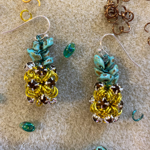 Pineapple Rhinestone Earrings Kit - Yellow with Brown & Turquoise Picasso