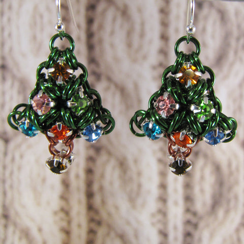 Japanese Puffy Christmas Tree Rhinestone Earrings Kit