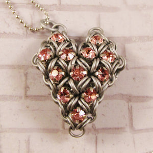 Japanese Puffy Rhinestone Heart Pendant/Necklace Kit - choose color
