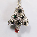 Japanese Holiday Tree Necklace Kit - Silver, Emerald & Ruby