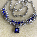 Barrel Weave Scalloped Rhinestone Necklace Kit with Video - Silver & Sapphire