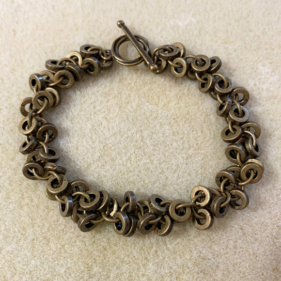 Shaggy Loop Bracelet with Smooth Pewter Rings - Free Video