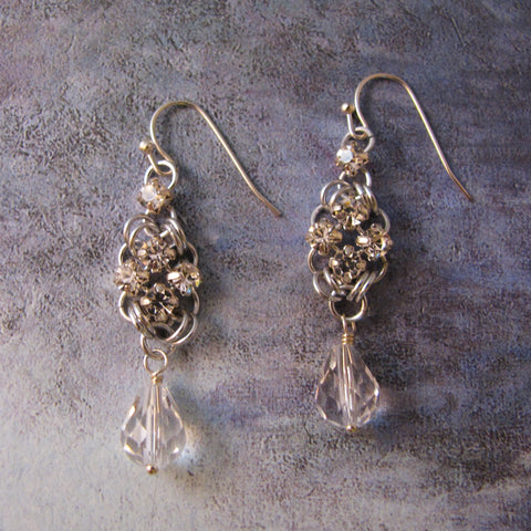 Simple Square Rhinestone Earrings Kit - Silver & Crystal