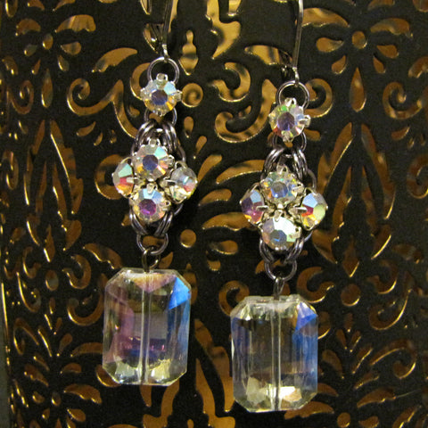 Japanese Rhinestone Simple Square Earrings Kit - Gunmetal & Crystal AB