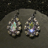 Japanese Simple Drop Rhinestone Surround Earring Kit - Gunmetal & Crystal AB