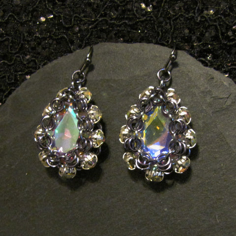Drop with Simple Rhinestone Surround Earring Kit - Gunmetal & Crystal AB