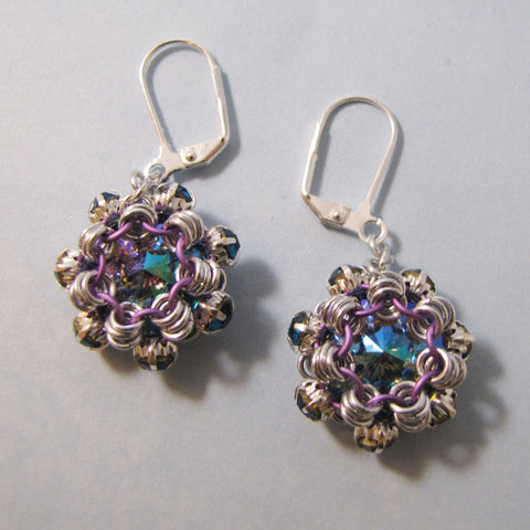 Japanese Simple Swarovski Rivoli & Rhinestone Earrings or Pendant Kit
