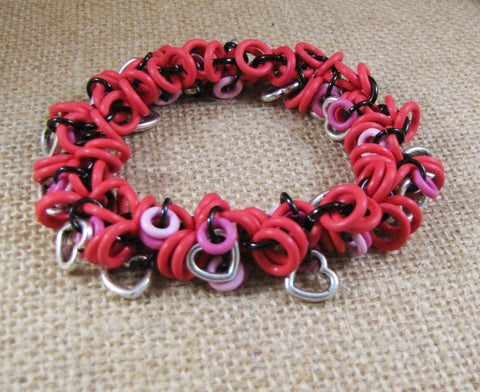 Bracelet Shaggy Loop Valentine's Charm Bracelet - Red, Pink & Black with Silver