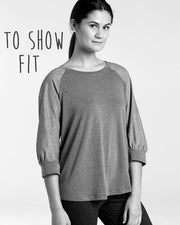 MOVING: Light Spritz V-neck, 3/4 Sleeve Signature Top, M, 1X