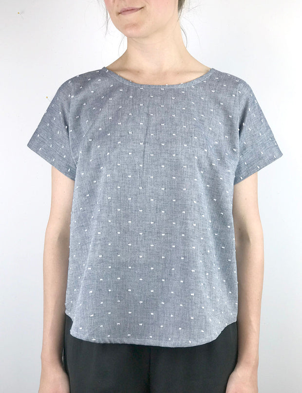Swiss Dot Short Sleeve Blouse