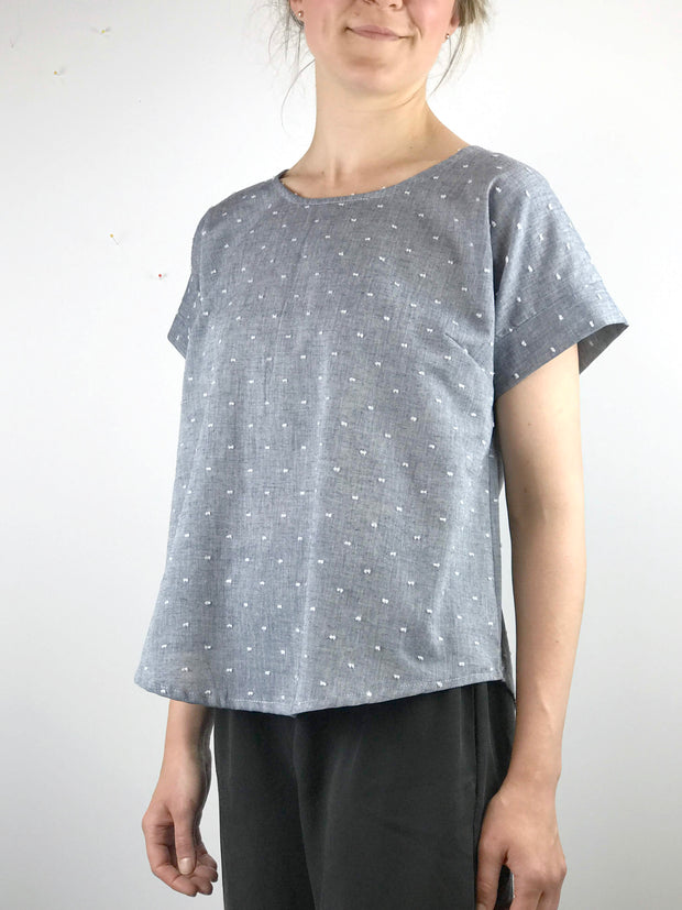 THROWBACK SALE: Swiss Dot Short Sleeve Blouse