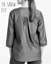 "MOVING: ""Foggy"" Cotton/Linen blouse, S, L,"