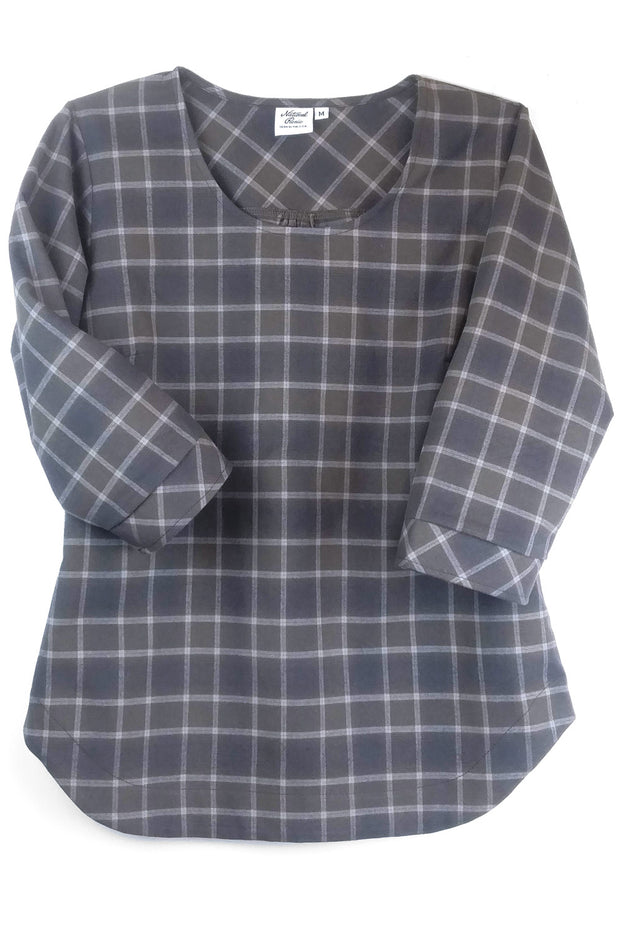 Flannel 3/4 Sleeve Popover