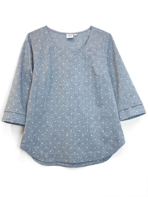 "LAST ONES: ""Foggy"" Cotton/Linen blouse, Small"