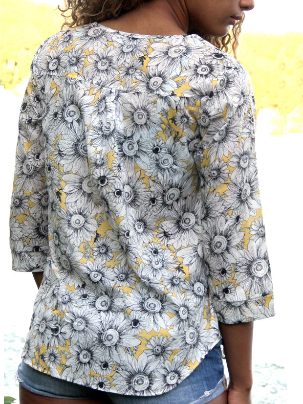 THROWBACK SALE: Sunflower print blouse