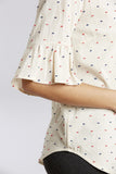 Linen/Cotton Swiss Dot Ruffle Cuff