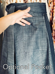 Denim Apron Tie Skirt, Shorter