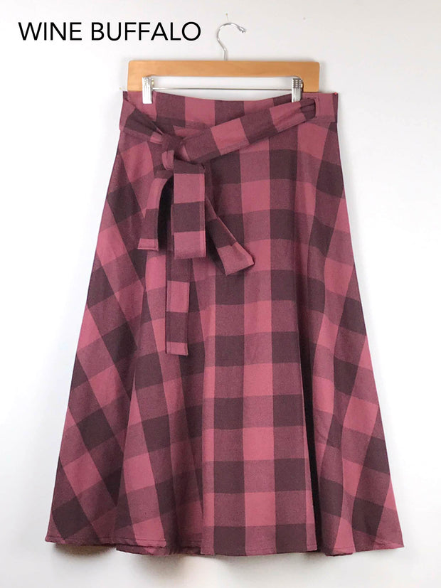 MOVING: Plaid Wrap Skirt, select colors
