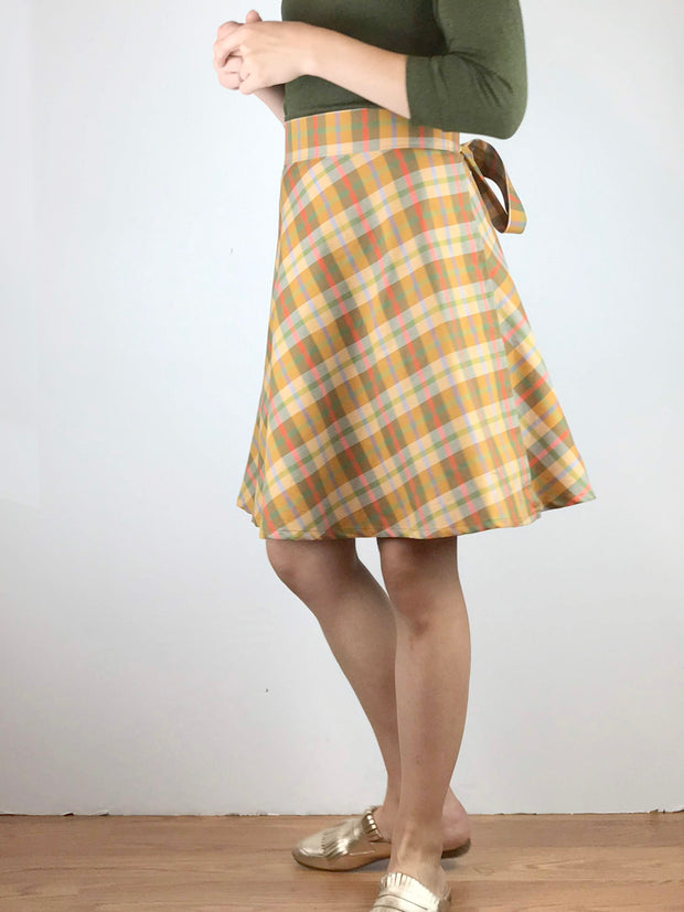 Shorter Apron Tie Wrap Skirt in Plaids/Prints