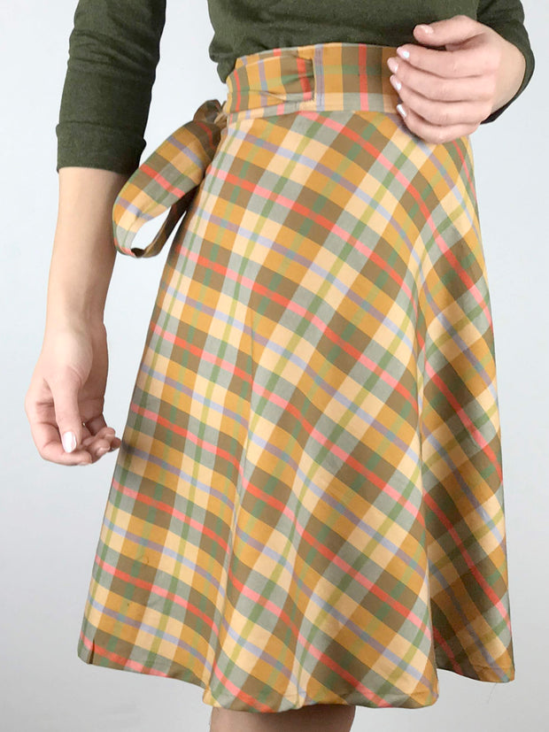 Seasonal Plaid Wrap Skirt, Shorter