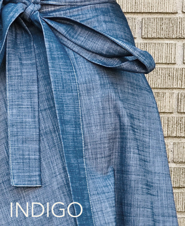 Denim Apron Tie Skirt, Longer
