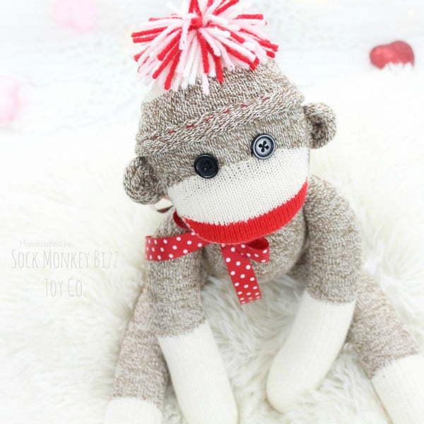 Valentine's Day Handmade Sock Monkey Doll