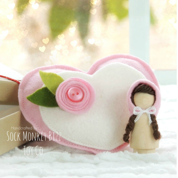 Pink Valentine's Day Wooden Peg Pixie Doll