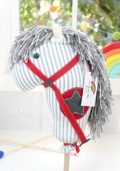Child's Ride-On Toy Stick Horse, Aviator Grey and Red Hobby Horse