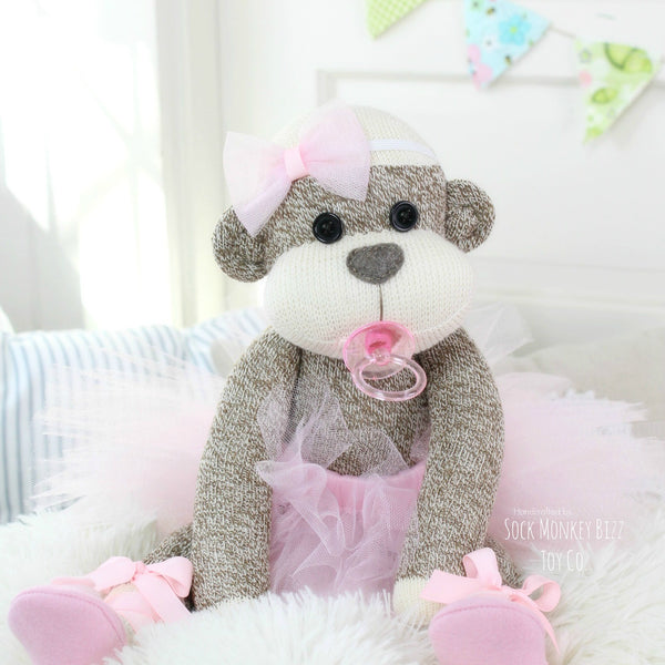 Ballerina Baby Sock Monkey Doll with Pacifier