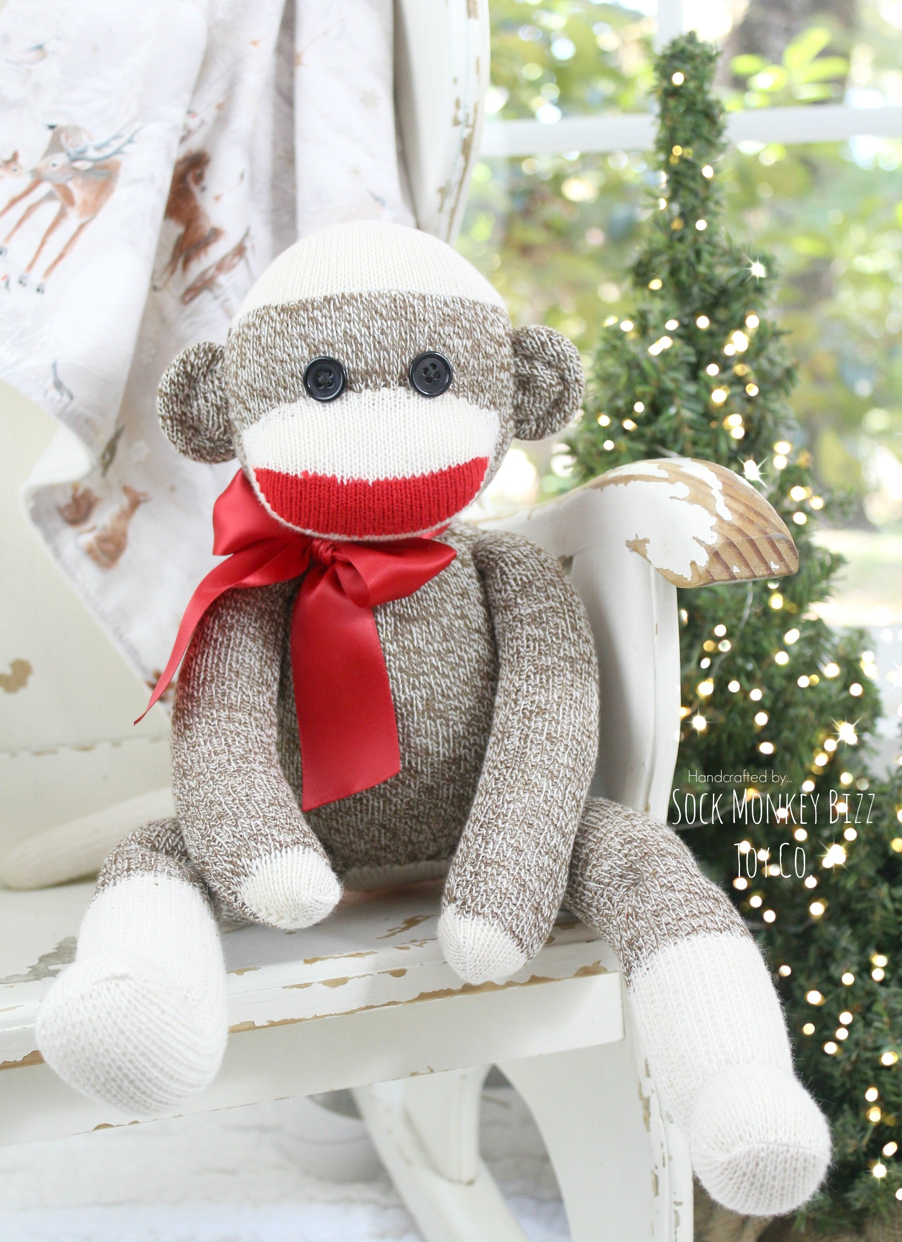 Handmade Sock Monkey Doll