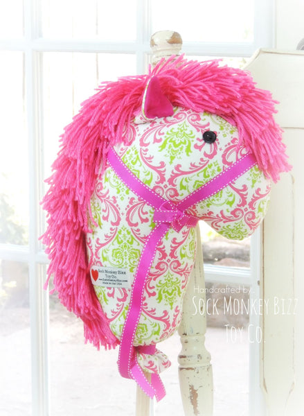 Child's Toy Stick Horse - Pink and Green French Damask