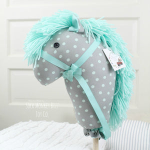 "Handcrafted Seafoam and Grey Polka Dot Stick Horse Unicorn, 36"" Hobby Horse"