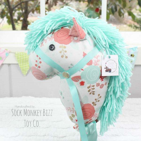 Stick Horse - Handcrafted Child's Toy Hobby Horse, Peach Aqua and Gold Floral