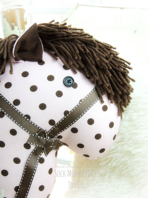 Child's Toy Stick Horse - Polly Polka Dot