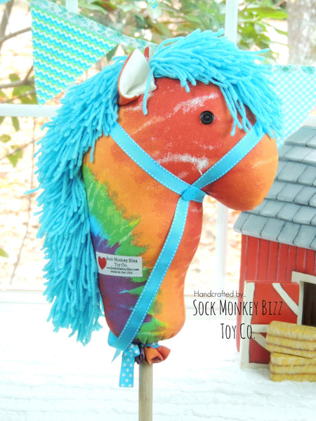"Child's Ride-On Toy Stick Horse, Rainbow Tie Dye 36"" Hobby Horse"