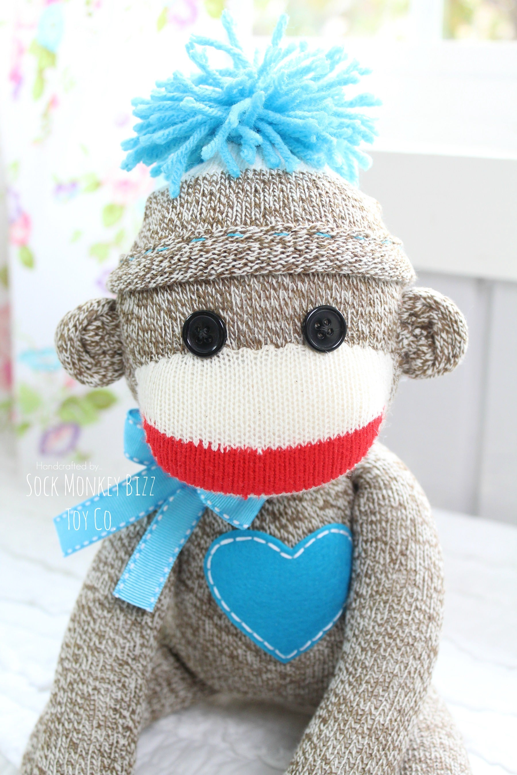Handcrafted Classic Traditional Sock Monkey Doll, Turquoise
